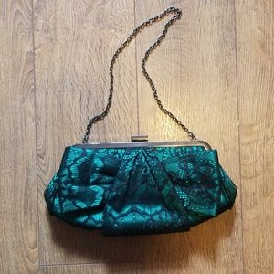 Glint Green and Black Lace Clutch